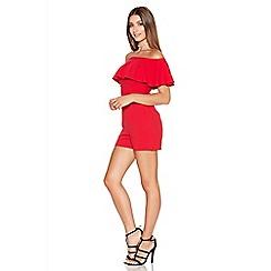 Quiz - Red Crepe Bardot Frill Playsuit