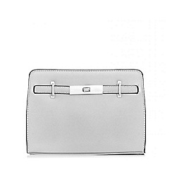 Quiz - Silver Metallic Satchel Bag
