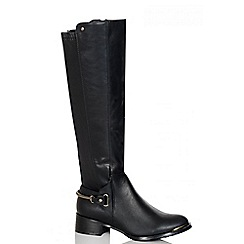 Quiz - Black PU Stretch Heel Trim Calf Boots