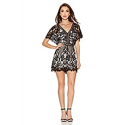 Quiz - Black And Stone Lace Detail Playsuit