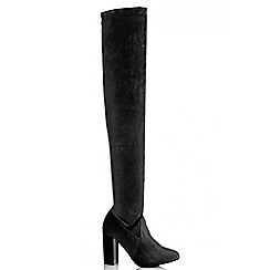 Quiz - Black Velvet Thigh High Boots