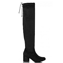 Quiz - Black Faux Suede Tie Top Block Heel Boots