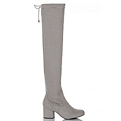 Quiz - Grey Faux Suede Tie Top Block Heel  Boots