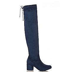 Quiz - Navy Faux Suede Tie Top Block Heel  Boots