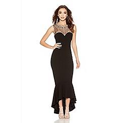 Quiz - Black Sweetheart Embellished Fishtail Dress