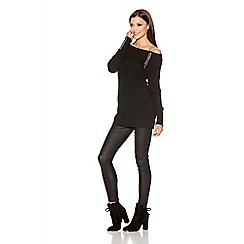 Quiz - Black Knit Bardot Zip Detail Jumper Dress