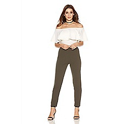Quiz - Khaki Crepe Elastic Waist Pocket Trousers
