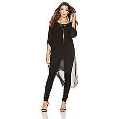 Quiz - Black Chiffon 3/4 Sleeve Tail Necklace Top