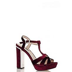 Quiz - Wine Velvet Block Heel Sandals