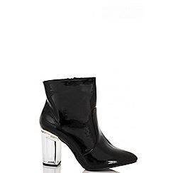 Quiz - Black Patent Perspex Heel Ankle Boots