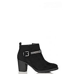 Quiz - Black Diamante Trim Ankle Boots