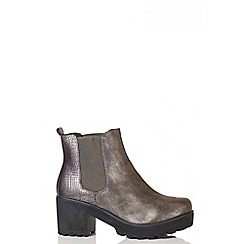 Quiz - Metallic Grey Snake Print Chunky Ankle Boots