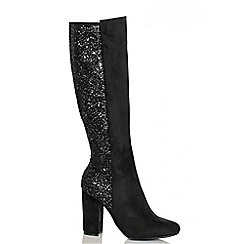 Quiz - Black faux suede glitter long boots