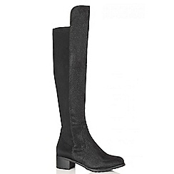 Quiz - Black Shimmer Stretch Long Boots
