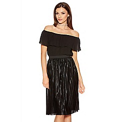 Quiz - Black Pleated Metallic Foil Midi Skirt