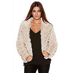 Quiz - Light Stone Rose Faux Fur Jacket