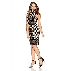 Quiz - Black And Stone Lace Turtle Neck Bodycon Dress