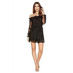 Quiz - Black Sequin Mesh Bardot Long Sleeve Playsuit