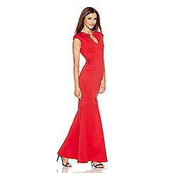 Quiz - Red Bodycon Keyhole Fishtail Maxi Dress