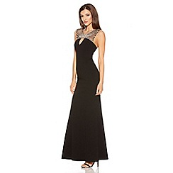 Quiz - Black Diamante Keyhole Fishtail Maxi Dress