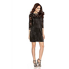 Quiz - Black And Silver Lace Swing Dress