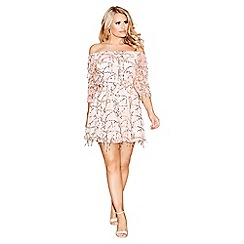 Quiz - Champagne Sequin Mesh Bardot 3/4 Sleeve Dress