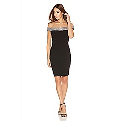 Quiz - Black Jersey Bardot Embellished Bodycon Dress