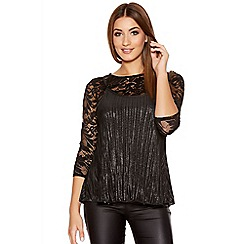 Quiz - Black And Silver Metallic Lace Cami Top