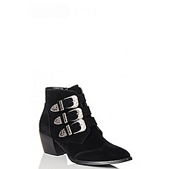 Quiz - Black Western Buckle Ankle Boot