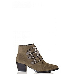 Quiz - Khaki Western Buckle Ankle Boot