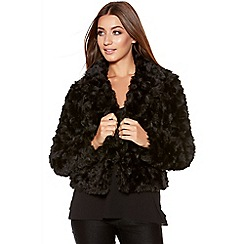 Quiz - Black Rose Faux Fur Jacket