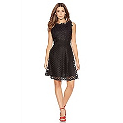 Quiz - Black Crochet High Neck Skater Dress