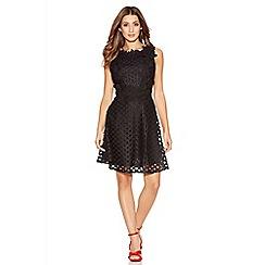 Quiz - Black Crochet High Neck Skater Dress