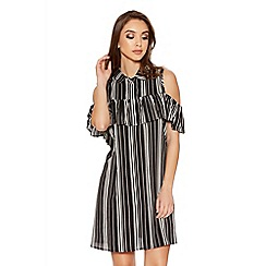 Quiz - Black Stripe Ruffle Cold Shoulder Shirt Dress