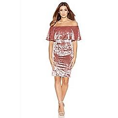 Quiz - Rose Pink Crushed Velvet Frill Dress