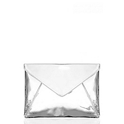 Quiz - Silver Metallic Large Envelope Bag