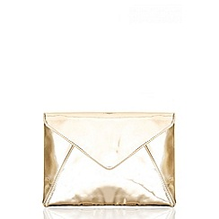 Quiz - Gold Metallic Large Envelope Bag