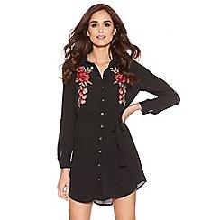 Quiz - Black Crepe Flower Embroidered Tie Belt Shirt