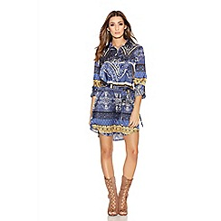 Quiz - Blue And Mustard Printed Satin Shirt Dress