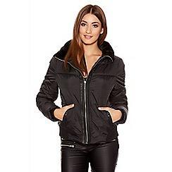 Quiz - Black Short Padded Piped Collar Jacket