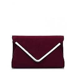 Quiz - Wine Faux Suede Envelope Bag
