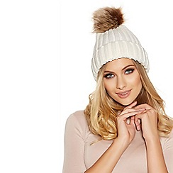 Quiz - Cream Pom Knit Hat