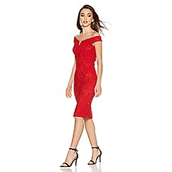 Quiz - Red Lace Sequin Bardot Midi Dress