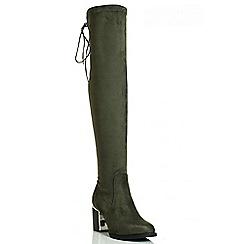 Quiz - Khaki Faux Suede Gold Plate Block Heel Boots