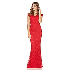 Quiz - Red Lace Sequin Bardot Fishtail Maxi Dress