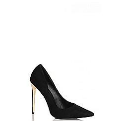 Quiz - Black Faux Suede Gold Heel Court Shoes