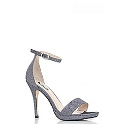 Quiz - Pewter Shimmer Barely There Heeled Sandals