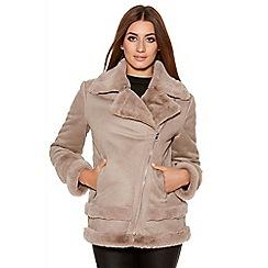 Quiz - Mocha Suedette Faux Fur Lined Biker Jacket