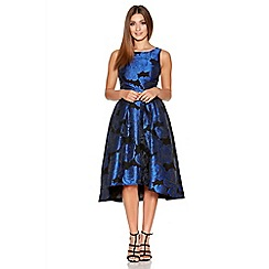 Quiz - Black And Royal Blue Jacquard Print Dress