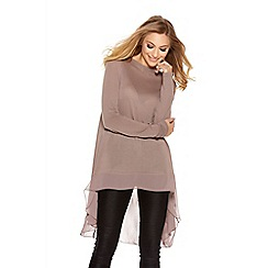 Quiz - Mocha Light Knit Chiffon Detail Top